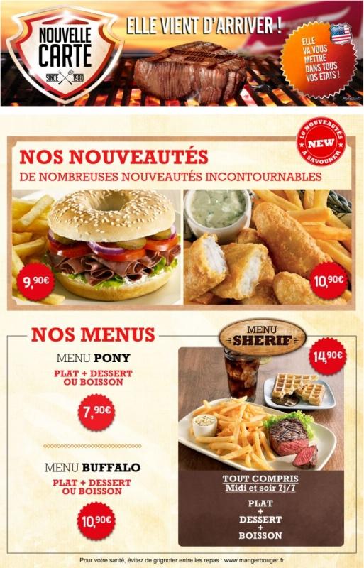 Carte Menu Buffalo Grill.Buffalo Grill Nouvelle Carte Les Enseignes Blabla En Vrac