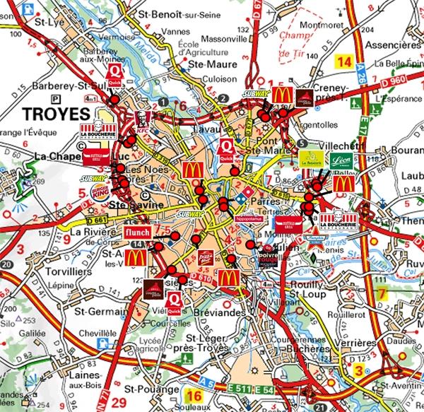 Carte troyes - Liste des magasins d usine en france ...